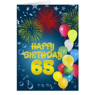 65.o Tarjeta de cumpleaños con los fuegos