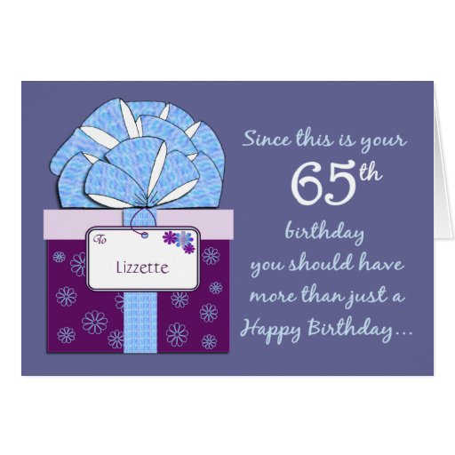 65.o Tarjeta del personalizable del cumpleaños