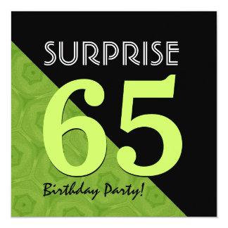 """65.o Verde lima del cumpleaños de la sorpresa y Invitación 5.25"""" X 5.25"""""""