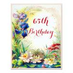 """65.o Vintage Waterlilies del cumpleaños y flores Invitación 4.25"""" X 5.5"""""""