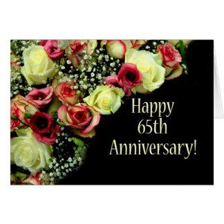 65.os rosas felices del aniversario tarjeta de felicitación
