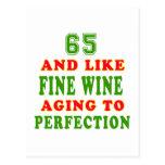 65 y como diseños del cumpleaños del vino fino postales