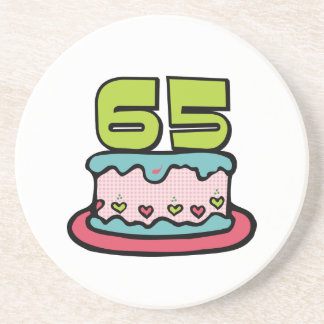 65 Year Old Birthday Cake Sandstone Coaster
