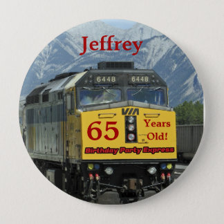 65 Years Old, Railroad Train Birthday Button Pin