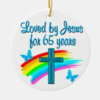 65 YR OLD BLESSING CERAMIC ORNAMENT
