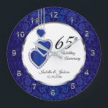 "65th / 45th Sapphire Blue Anniversary Keepsake Large Clock<br><div class=""desc"">Personalize Clock. 45th or 65th Sapphire Wedding Anniversary Keepsake. 100% Customizable. Ready to Fill in the box(es) or Click on the CUSTOMIZE button to add, move, delete, resize or change any of the font or graphics. Made with high resolution vector and/or digital graphics for a professional print. NOTE: (THIS IS...</div>"