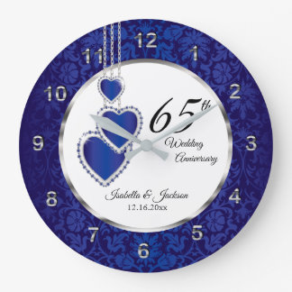 65th / 45th Sapphire Blue Anniversary Keepsake Large Clock