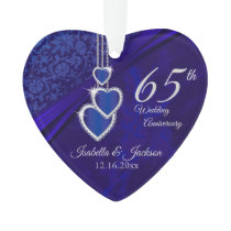 65th / 45th Sapphire Wedding Anniversary Keepsake Ornament