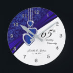 """65th / 45th Sapphire Wedding Anniversary Keepsake Round Clock<br><div class=""""desc"""">Personalize Clock. 45th or 65th Sapphire Wedding Anniversary Keepsake. 100% Customizable. Ready to Fill in the box(es) or Click on the CUSTOMIZE button to add, move, delete, resize or change any of the font or graphics. Made with high resolution vector and/or digital graphics for a professional print. NOTE: (THIS IS...</div>"""