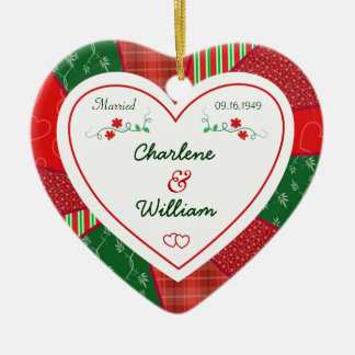 65th Anniversary Christmas Quilt Heart Gift Ceramic Ornament