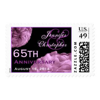 65th Anniversary Custom Stamp  LILAC PURPLE  Roses