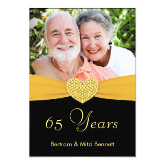 65th Anniversary - Faux Pocket -Custom Invitations