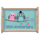 65th Anniversary Owl Couple Serving Tray