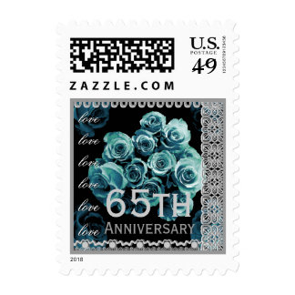 65th Anniversary TRUE BLUE Roses SILVER Lace Stamp