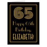 "[ Thumbnail: 65th Birthday: Art Deco Inspired Look ""65"" + Name Card ]"