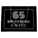 "[ Thumbnail: 65th Birthday — Art Deco Inspired Look ""65"" & Name Gift Bag ]"