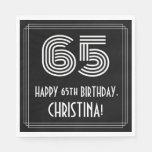 "[ Thumbnail: 65th Birthday: Art Deco Inspired Look ""65"" + Name Napkins ]"