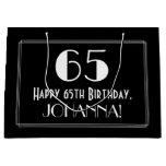 "[ Thumbnail: 65th Birthday: Art Deco Inspired Style ""65"", Name Gift Bag ]"