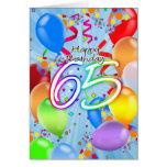 65th Birthday - Balloon Birthday Card - Happy Birt