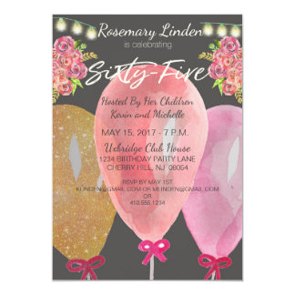 65th Birthday Balloons Flowers and Lights Invite