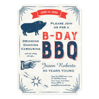 65th Birthday BBQ Party All American Vintage 5x7 Paper Invitation Card