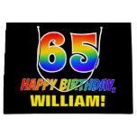 [ Thumbnail: 65th Birthday: Bold, Fun, Simple, Rainbow 65 Gift Bag ]