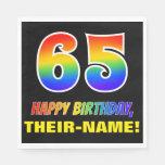[ Thumbnail: 65th Birthday: Bold, Fun, Simple, Rainbow 65 Napkins ]