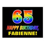 [ Thumbnail: 65th Birthday: Bold, Fun, Simple, Rainbow 65 Postcard ]