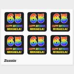 [ Thumbnail: 65th Birthday: Bold, Fun, Simple, Rainbow 65 Sticker ]