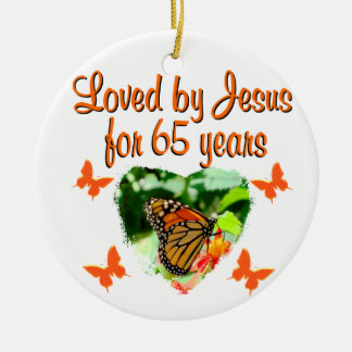 65TH BIRTHDAY BUTTERFLY CERAMIC ORNAMENT