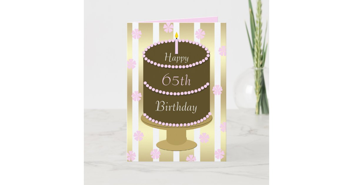 Sensational 65Th Birthday Card Cake In Pink Zazzle Com Personalised Birthday Cards Veneteletsinfo