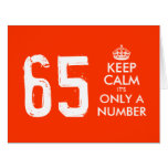 65th Birthday card | Keep Calm it's only a number