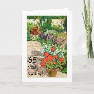 65th Birthday Card - Red Geraniums card