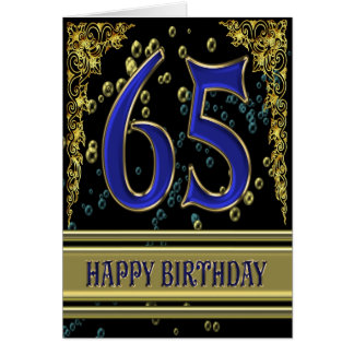 65th birthday card with gold and bubbles