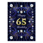 65th birthday card with masses of jewels