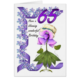 65th Birthday Card with Moonies cute bloomers,