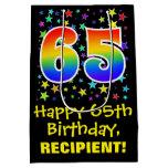 [ Thumbnail: 65th Birthday: Colorful Stars Pattern & Rainbow 65 Gift Bag ]