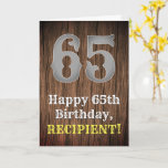 [ Thumbnail: 65th Birthday: Country Western Inspired Look, Name Card ]