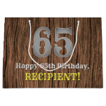 [ Thumbnail: 65th Birthday: Country Western Inspired Look, Name Gift Bag ]