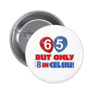 65th birthday designs button