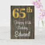 [ Thumbnail: 65th Birthday: Elegant Faux Gold Look #, Faux Wood Card ]