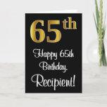 [ Thumbnail: 65th Birthday ~ Elegant Luxurious Faux Gold Look # Card ]