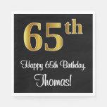 [ Thumbnail: 65th Birthday ~ Elegant Luxurious Faux Gold Look # Napkins ]
