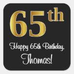 [ Thumbnail: 65th Birthday – Elegant Luxurious Faux Gold Look # Sticker ]
