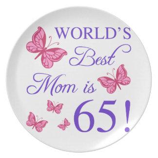 65th Birthday For Mom Melamine Plate