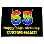 [ Thumbnail: 65th Birthday ~ Fun, Colorful, Vibrant, Rainbow 65 Gift Bag ]