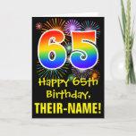 [ Thumbnail: 65th Birthday: Fun Fireworks Pattern + Rainbow 65 Card ]