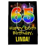 [ Thumbnail: 65th Birthday: Fun Fireworks Pattern + Rainbow 65 Gift Bag ]