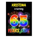 "[ Thumbnail: 65th Birthday - Fun Fireworks, Rainbow Look ""65"" Postcard ]"