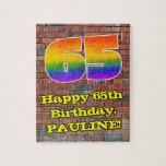 [ Thumbnail: 65th Birthday: Fun Graffiti-Inspired Rainbow 65 Jigsaw Puzzle ]